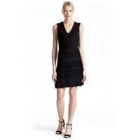 French Connection Pleat Lace Jersey V-neck Dress Black