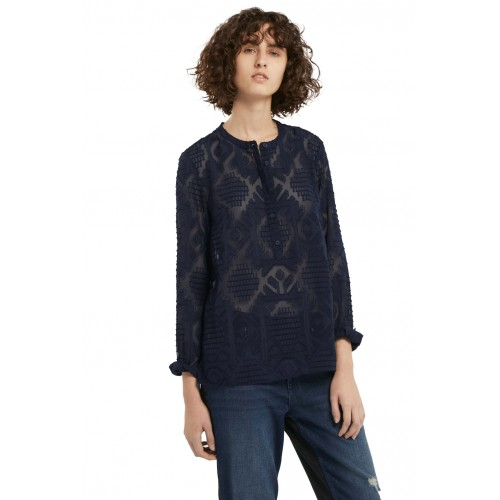 French Connection Edna Fil De Coupe Collarless Shirt Nocturnal
