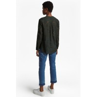 French Connection Edna Fil De Coupe Collarless Shirt Ink Green