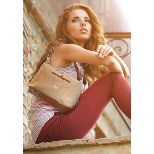 Troop Washed Beige Canvas Shoulder Bag