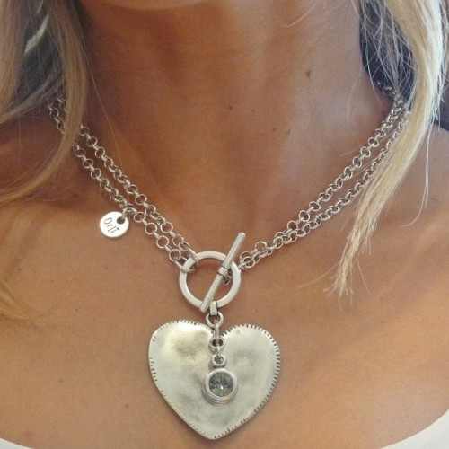 Orli Jewellery Double Chain Large Heart Necklace