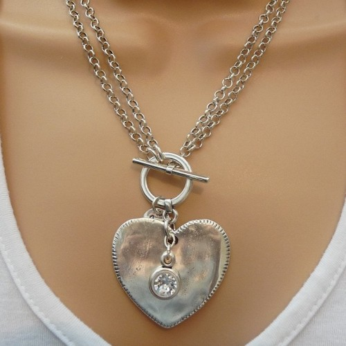 Orli Jewellery Double Chain Large Heart With Clear Swarovski Crystal Necklace