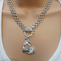 Orli Jewellery Double Chain Bevelled Heart Necklace