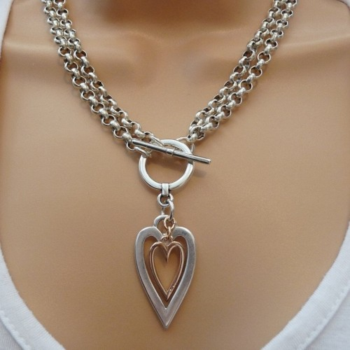 Orli Jewellery Double Chain Open Hearts Necklace